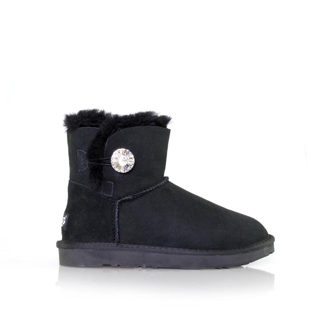 UGG Button Ankle Boots Mini - Black - AU Women 9 / Men 7
