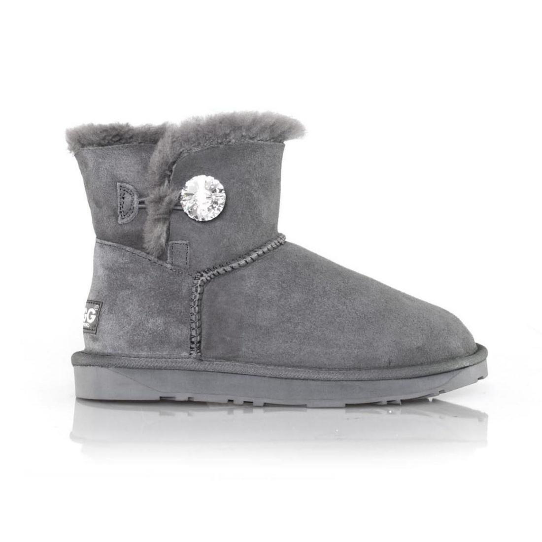UGG Button Ankle Boots Mini - Grey - AU Women 4 / Men 2