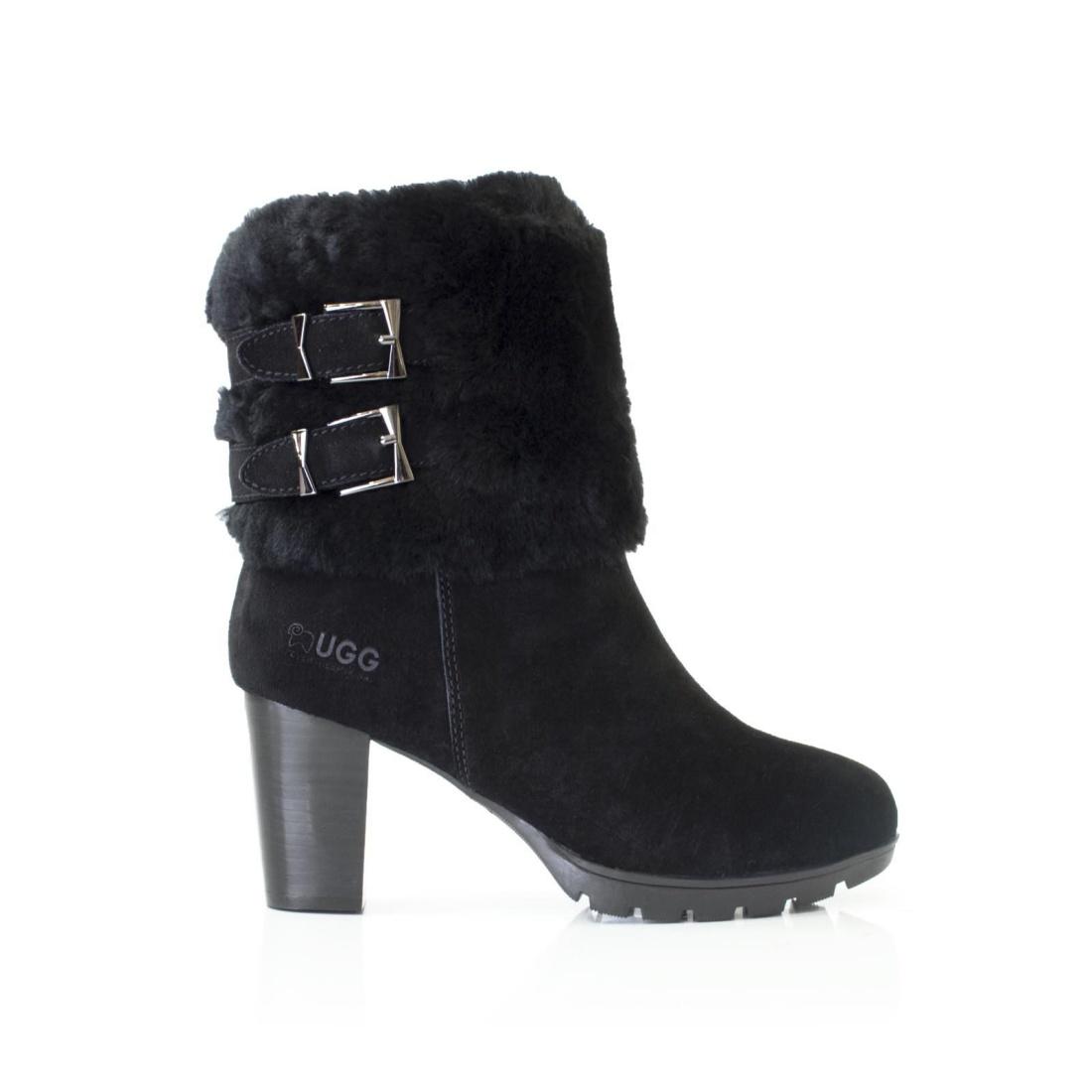UGG High Heel Boots - Black - AU Women 8 / Men 6