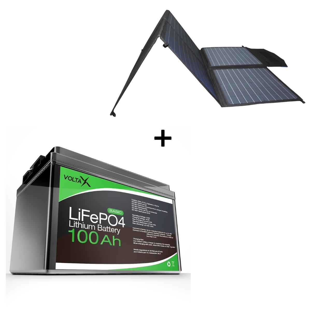 BUNDLE DEAL - VoltaX 12V 100Ah LifePO4 Lithium Battery + Maxray 12V 200W Folding Solar Blanket