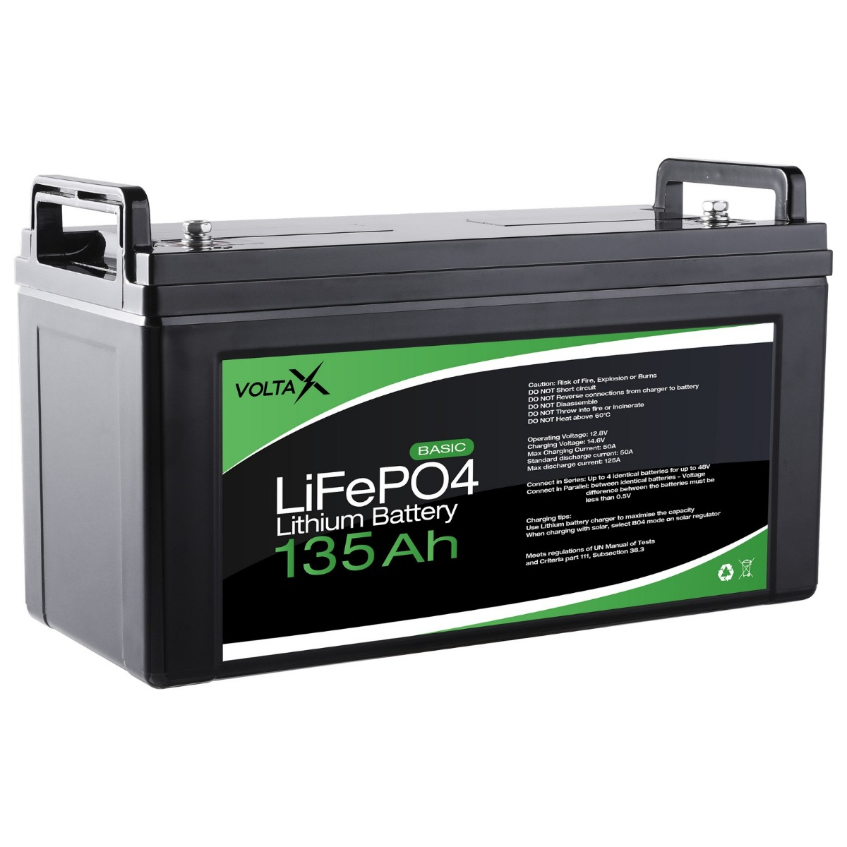 VoltaX 12V 135Ah Lithium Ion Battery LiFePO4 Deep Cycle Recycle Camping RV Solar