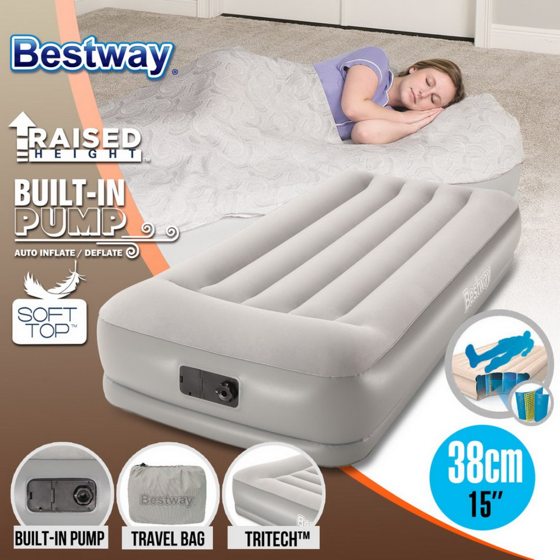 Bestway Single Air Bed Sleeping Mats Inflatable Mattresses Home Camping Pump
