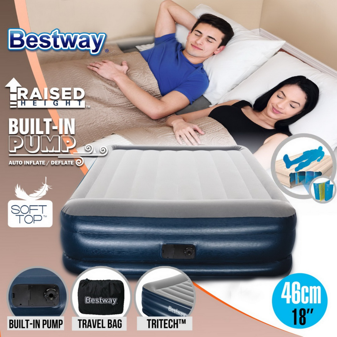 Bestway Portable Queen Inflatable Air Bed Blow Up Mattress Built In Pump Camping