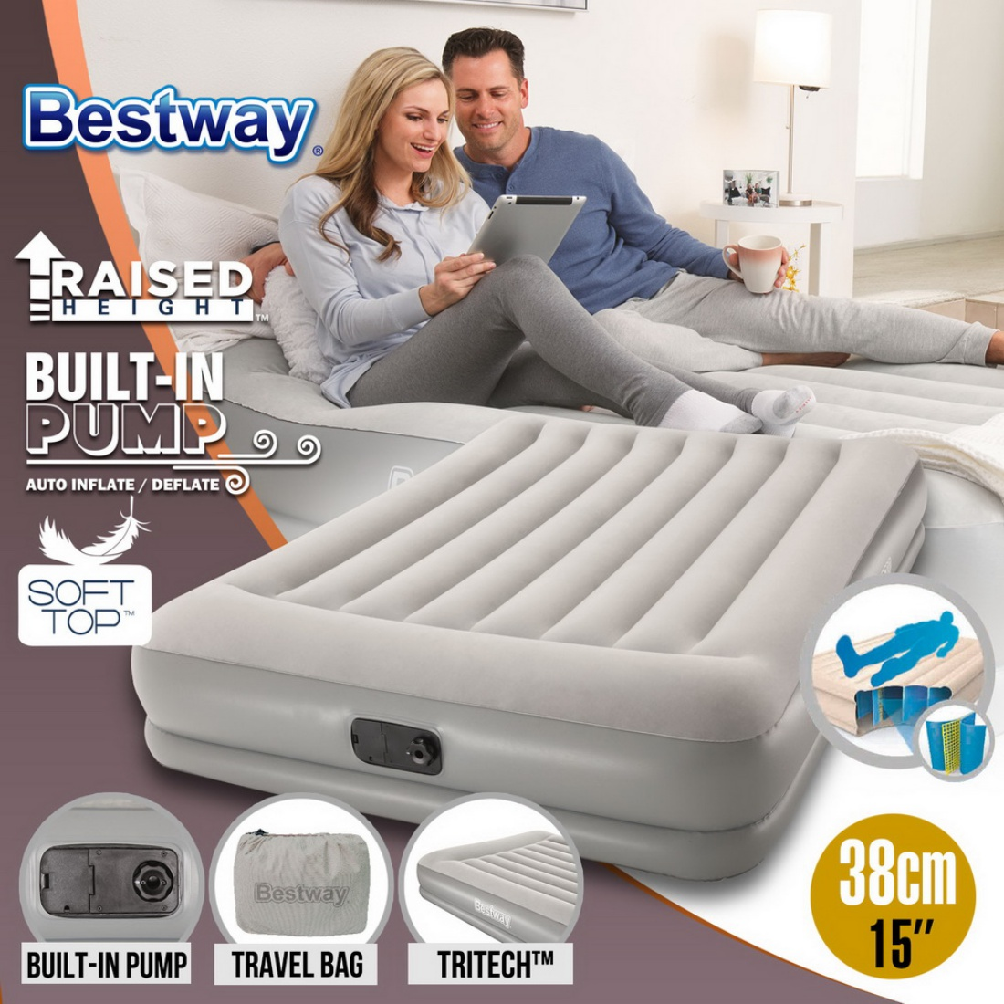 Bestway Portable Queen Inflatable Air Bed Blow Up Mattress Built In Pump Travel