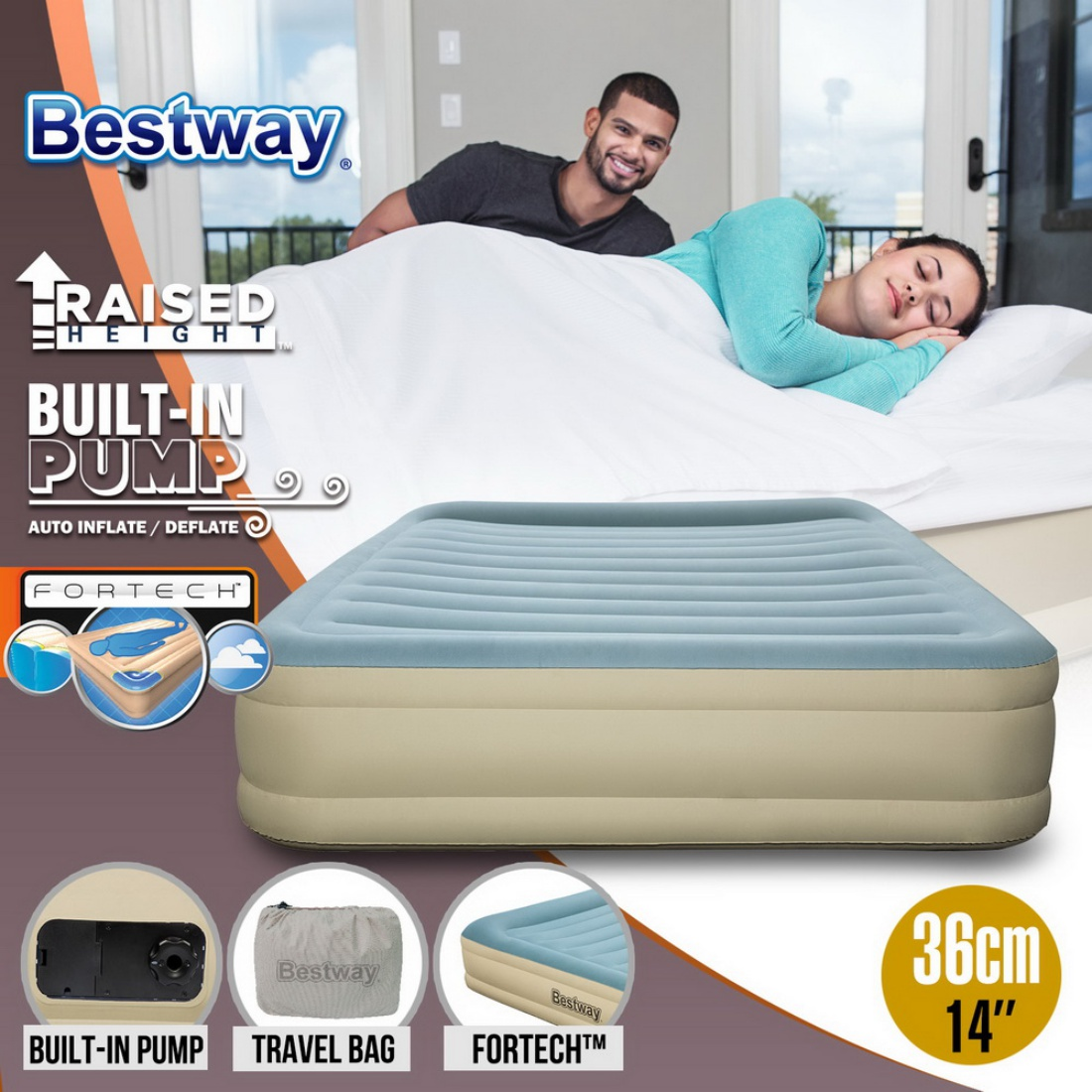 Bestway Queen Size Air Bed Inflatable Mattress Sleeping Mat Essence Fortech™