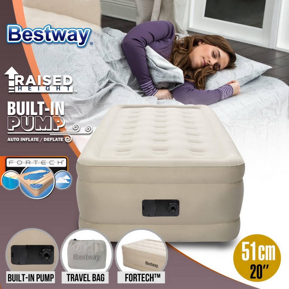 Bestway Inflatable Single Air Bed Home Blow Up Mattress Built-in Pump Camping