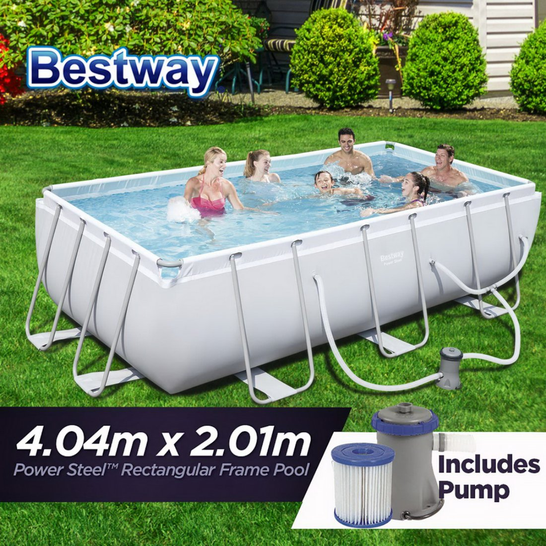 NEW 4.04m x 2.01m Bestway Power Steel™ Rectangular Frame Swimming Pool Set