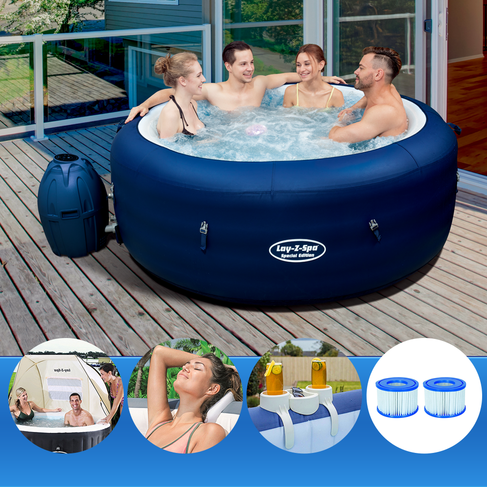 Bestway Lay-Z Spa SAINT TROPEZ + Shelter + Pillow + Cup + 2 Additional Filters