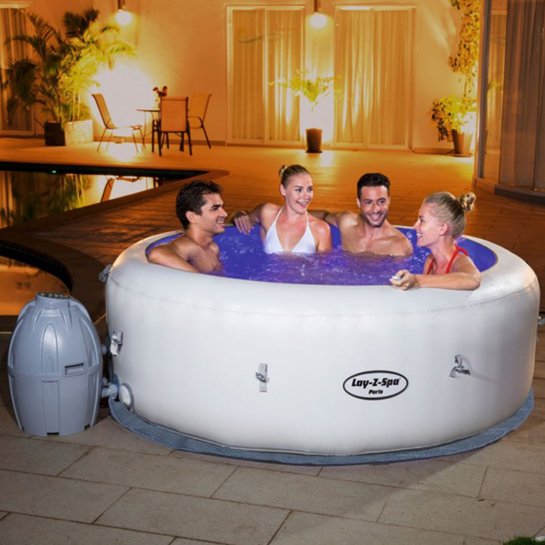 Bestway Lay-Z-Spa PARIS - Heated Hot Tub Spa Massage - Built in LED - 80 Jets - 4 to 6 People