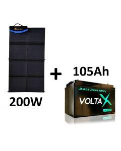 Maxray 200W Solar Blanket + 105Ah Lithium Battery Package