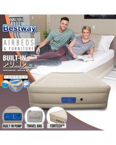 Bestway Air Bed Inflatable Luxury Queen Blow Up Mattress Built-in Pump Travel