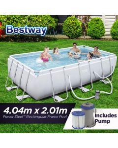NEW 4.04m x 2.01m Bestway Power Steel™ Rectangular Frame Swimming Pool Set