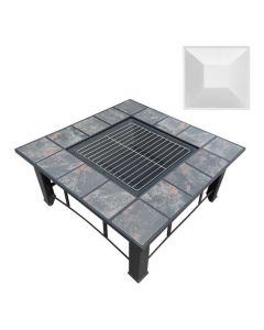 32x32 Inch Square Fire Pit BBQ Table Grill Fireplace - with Party Ice Bucket & Table Lid