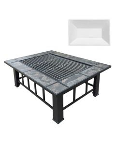 37x28 Inch Rectangle Fire Pit BBQ Table Grill Fireplace - with Party Ice Bucket