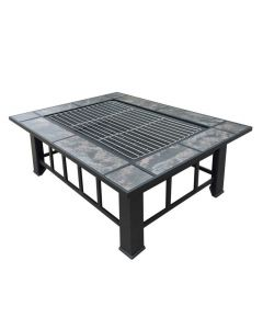 37x28 Inch Rectangle Fire Pit BBQ Table Grill Fireplace
