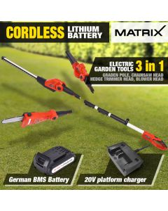 Matrix 20V Pole for Graden Pole Chainsaw Hedg Trimmer Electric Garden Tool 3in1