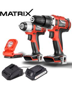Matrix 20V Cordless Drill & Impact Wrench Flashlight Work Set Power Tool