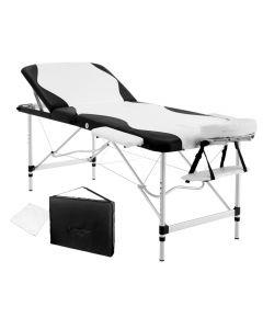 Portable Aluminium 3 Fold Massage Table Chair Bed Black White 75cm