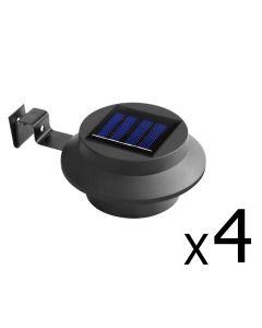 Set of 4 LED Solar Powered Fence Gutter Light Black