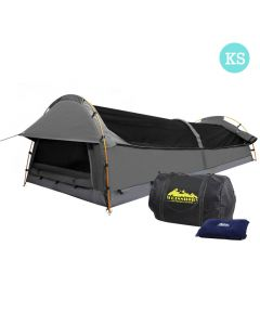 King Single Camping Canvas Swag Tent Grey w/ Air Pillow