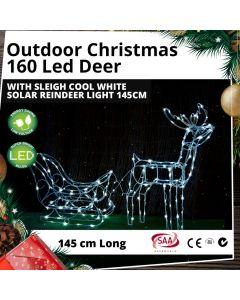 160 LED Deer with Sleigh Cool White Outdoor Solar Christmas Reindeer Light 145cm