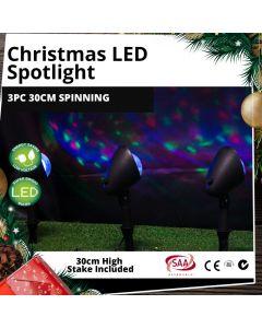 Outdoor LED 3pc Spotlights 30cm High Disco-Effect