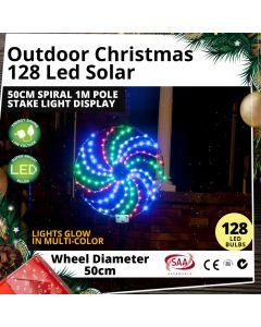 Outdoor 128 LED Solar 50cm Spiral 1m Pole Stake Christmas Light Display