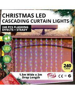 Christmas LED Cascading Curtain Lights 240 pcs Flashing Effects + Steady