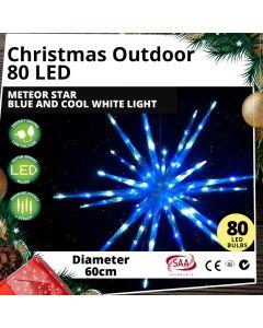 Outdoor 80 LED 60cm Meteor Star Blue White Light Christmas Display
