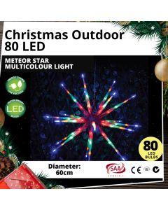 Outdoor 80 LED 60cm Meteor Star Multicolour Light Christmas Display