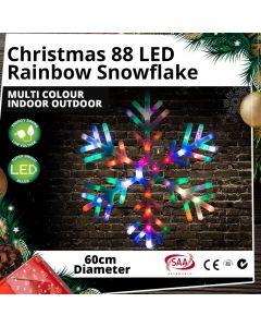 88 LED Rainbow Snowflake Multi Colour Indoor Outdoor Christmas Light Decor 60cm