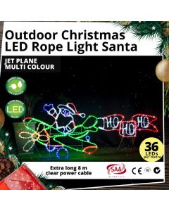 LED Rope Light Santa Jet Plane Multi Colour Outdoor Christmas Light Motif 190cm