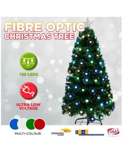 CLEARANCE 120cm LED Christmas Tree Fibre Optic Flashing Multi Colour Light Balls