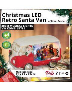 Christmas LED Retro Santa Van 3D Street Scene 20cm Musical Lights VW Kombi Style