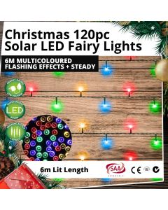 Christmas 120pc Solar LED Fairy Lights 6m Multicoloured Flashing Effects + Steady