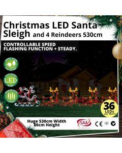 Gigantic Christmas LED Santa Sleigh and 4 Reindeers 530cm