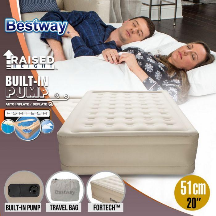 """Bestway Fortech 20/"""" Inflatable Indoor Queen Airbed Air Mattress w// Built-In Pump"""