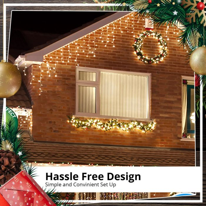 Snowing Christmas Lights.Outdoor 960 Led Snowing Icicle White Christmas Light Display With Timer