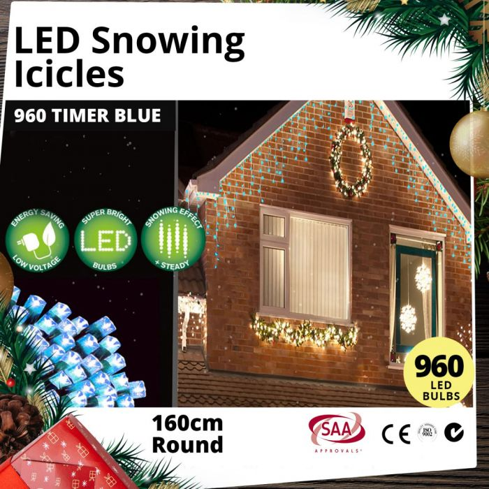 Snowing Christmas Lights.Outdoor 960 Led Snowing Icicle Blue Christmas Light Display With Timer