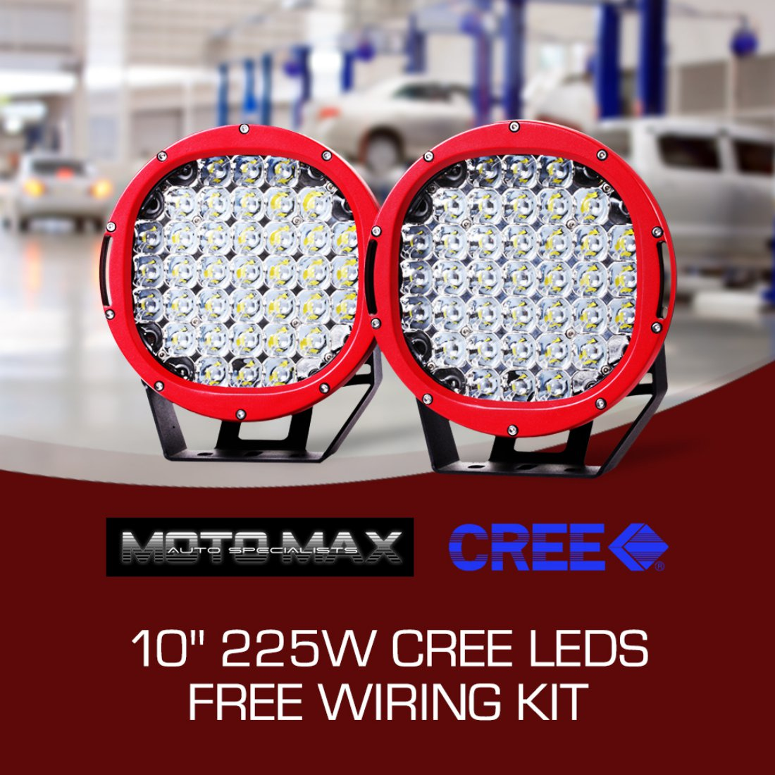 Pair Motomax 10 inch 225W LED Driving Lights Red Cree Round Spotlights Offroad