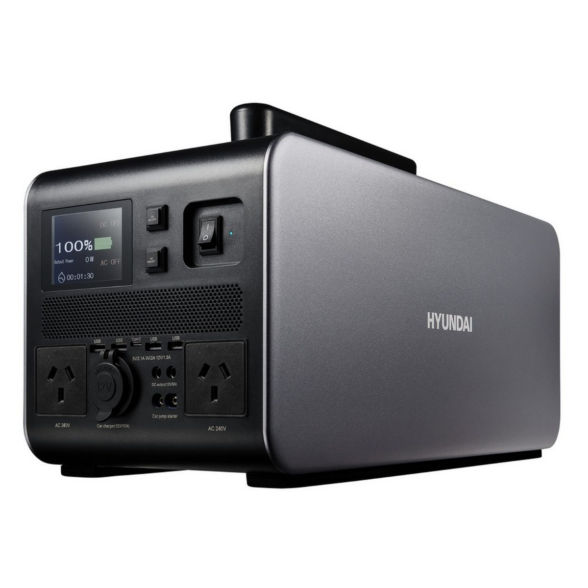 Hyundai 1000W / 2000W max LiFePO4 Lithium Power Station AC/DC - 1075Wh Battery