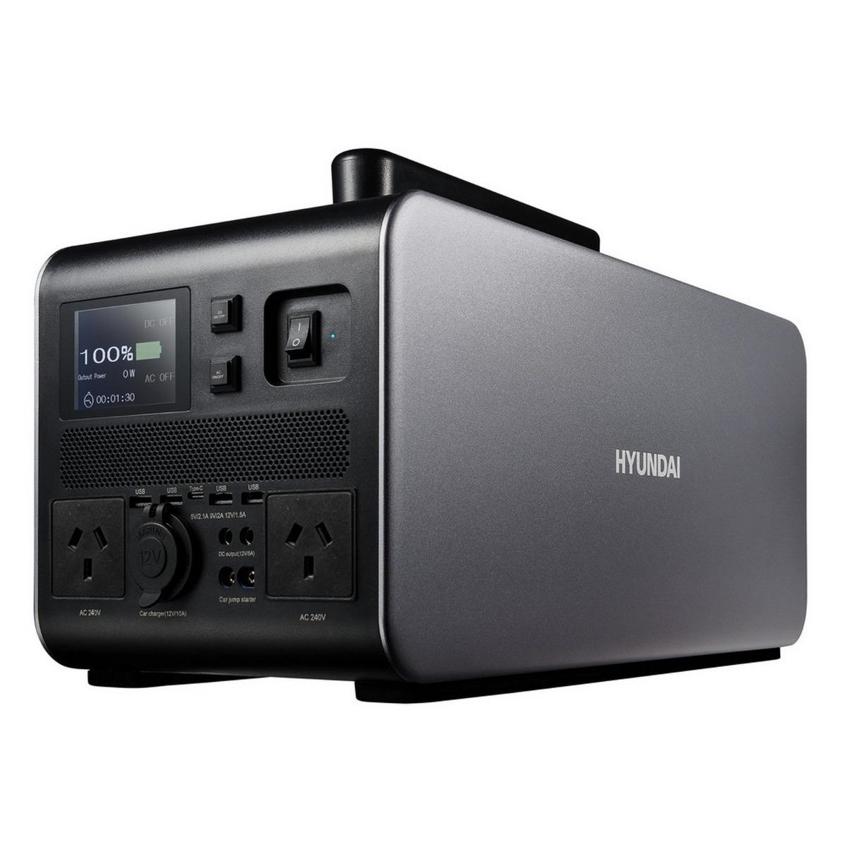 Hyundai 1500W / 3000W max LiFePO4 Lithium Power Station AC/DC - 137Ah Battery