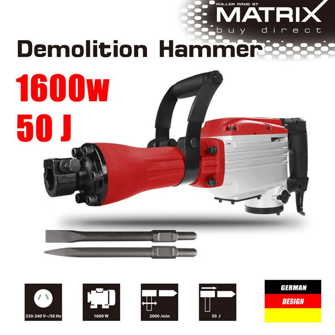 1600W Demolition Jack Hammer Commercial Grade Electric Jackhammer Power Tool