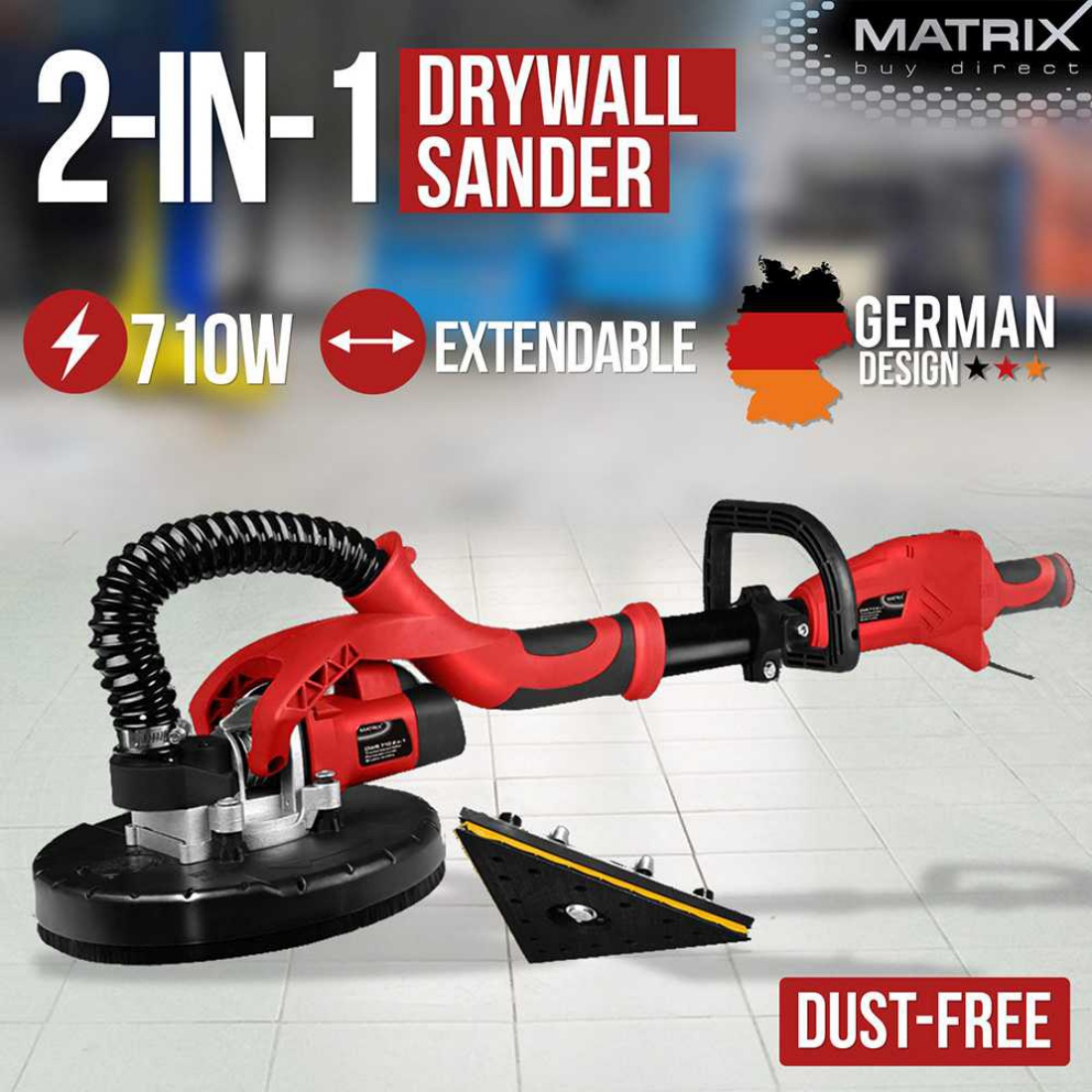 2-in-1 Extendable Dust-Free Drywall Sander Plaster Plasterboard Gyprock Dry Wall