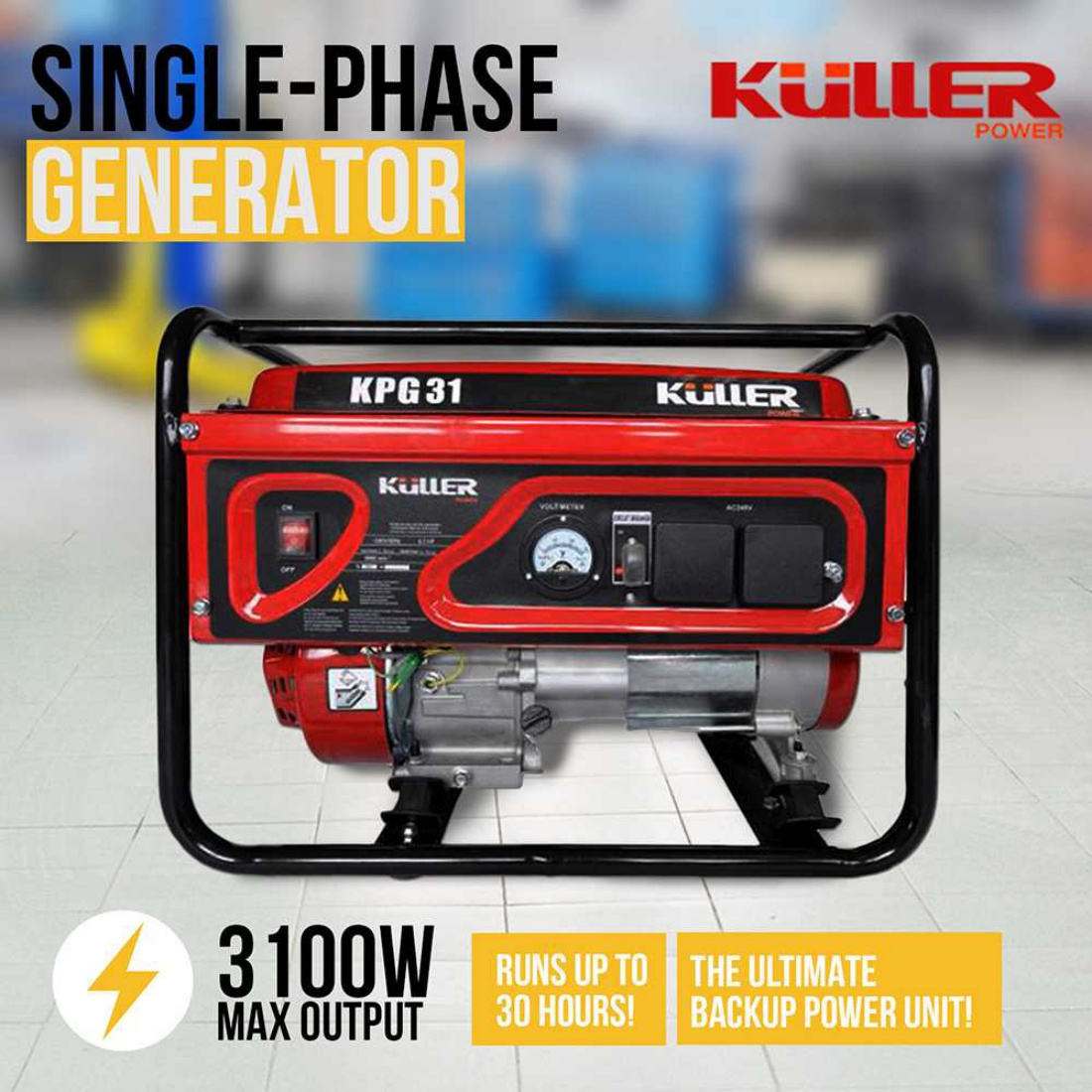 Single-Phase 240V 3100W Generator Petrol Power Air-Cooled 4-Stroke Recoil Start