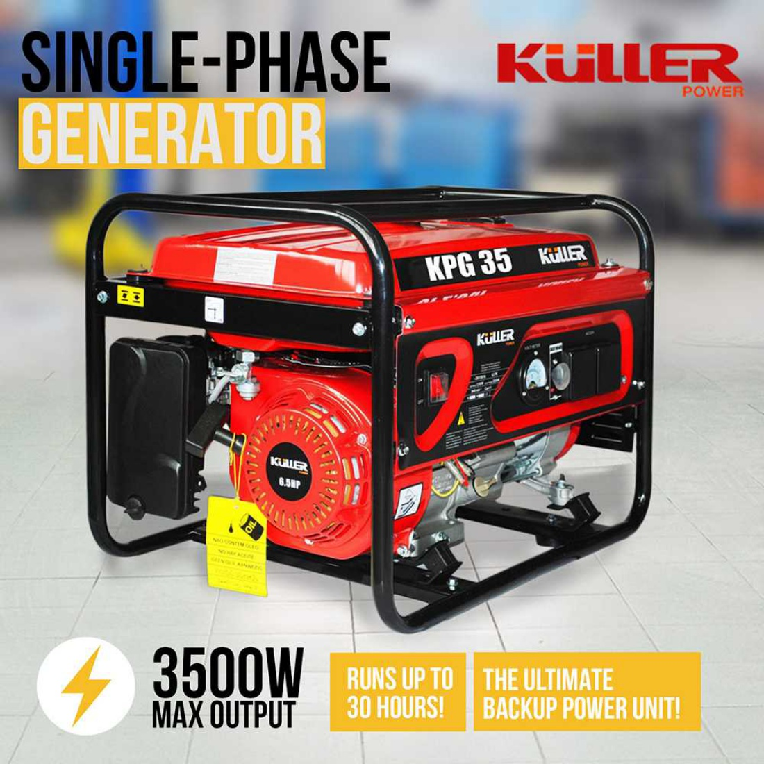 Single-Phase 240V 3500W Generator Petrol Power Air-Cooled 4-Stroke Recoil Start