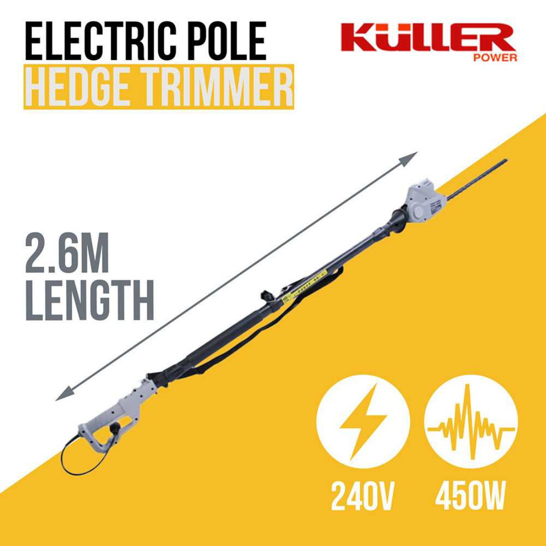 240V Electric Pole Hedge Trimmer Outdoor Backyard Garden Power Tools Long Reach