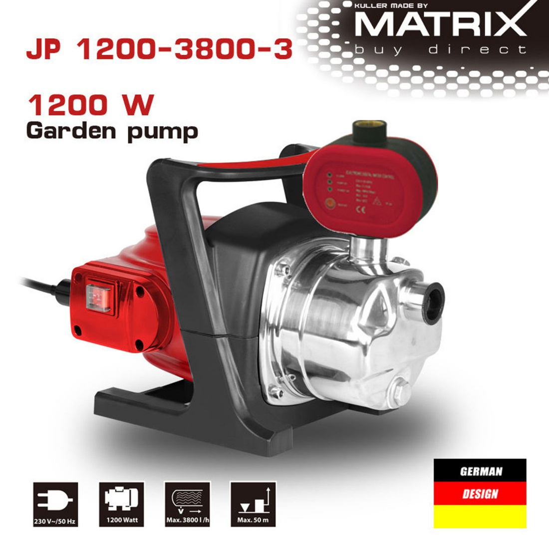 Matrix 1200W Rain Water Tank Pump Stainless Steel Pressure Switch Irrigation