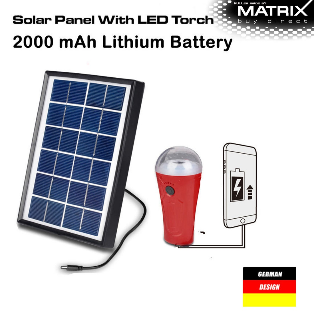 New Matrix Solar Panel LED Torch Flashlight Power Bank 2000mah Phone Charger