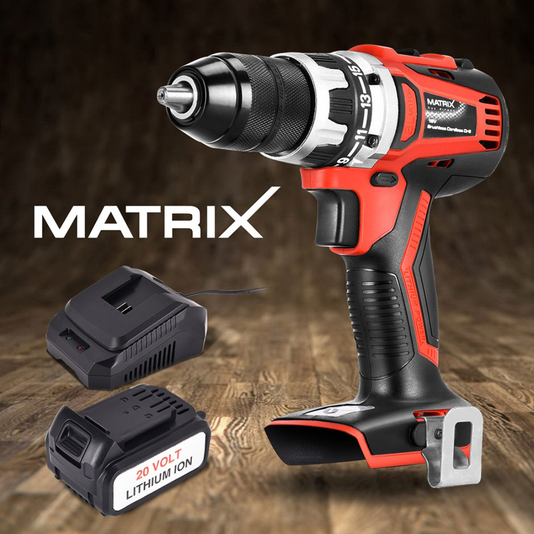 NEW Matrix 20V Brushless Cordless Drill 4.0ah Li-Ion Battery Charger Power Tool